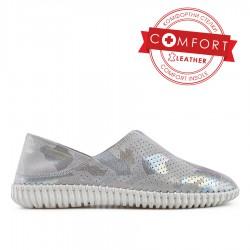 stříbrná kožená slip on obuv NTS19-024