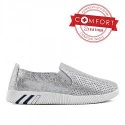 stříbrná kožená slip on obuv s květinovým vzorem TENDENZ NTS19-033