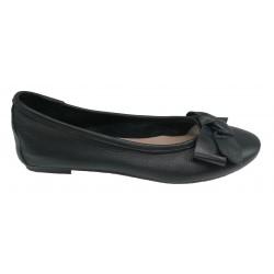 černé kožené italské baleríny s mašlí na malém klínku Mary 3110