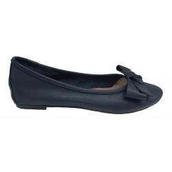 tmavě modré kožené italské baleríny s mašlí na malém klínku Mary 3110