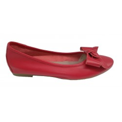 červené kožené italské baleríny s mašlí na malém klínku Mary 3110