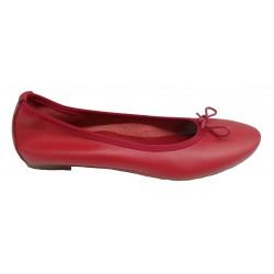 červené kožené italské baleríny na malém klínku Mary 600