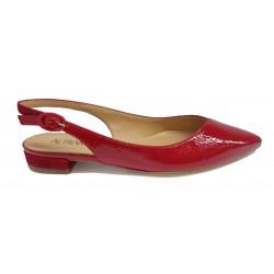 červené kožené italské lodičky s otevřenou patou v kombinaci s lakem Altramarea 2167