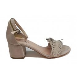 béžové kožené sandálky na širokém podpatku s ozdobným peříčkem Ripa 5108