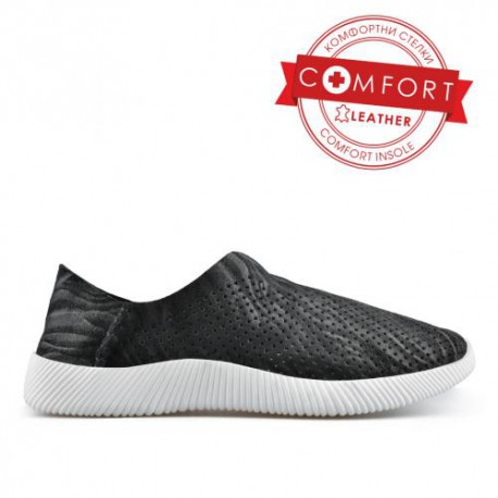 černá kožená slip on obuv  TENDENZ NTS19-038