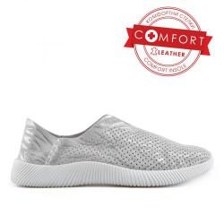 stříbrná kožená slip on obuv  TENDENZ NTS19-038
