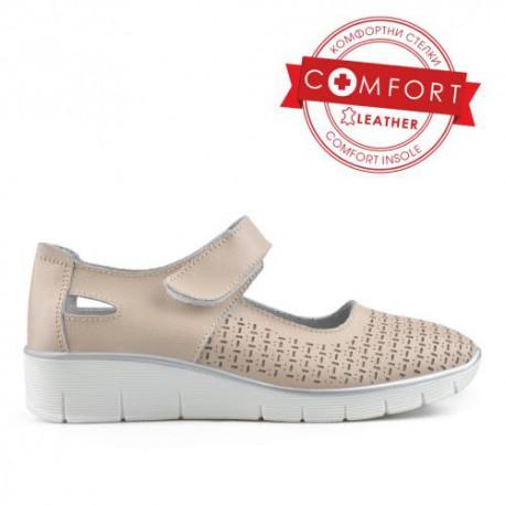 béžové kožené sandály TENDENZ NTS19-042