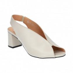 světle šedé kožené sandály na širokém podpatku Simen 1274A