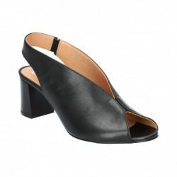 černé kožené sandály na širokém podpatku Simen 1274A
