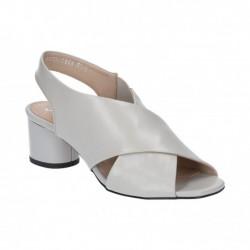 šedé kožené sandály na širokém podpatku Simen 1306A