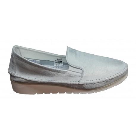 bílá třpytivě přetíraná kožená slip-on obuv Butmil 653