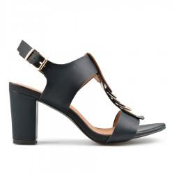 černé sandálky na širokém podpatku TENDENZ CRS19-042