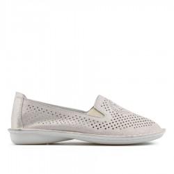 stříbrná kožená slip-on obuv TENDENZ NTS19-111