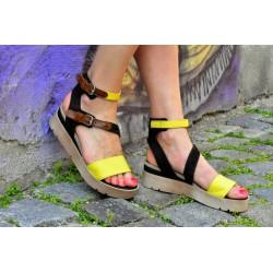 žluté kožené sandály INDIGO SHOES 1889