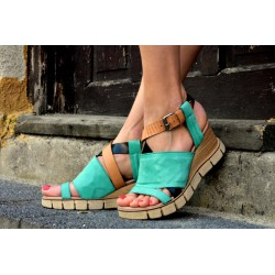 zelené kožené sandály INDIGO SHOES 1988