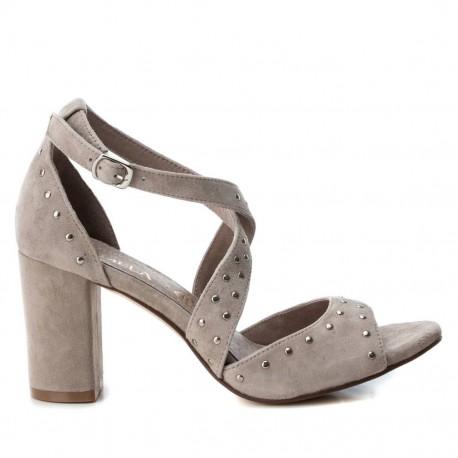 taupe kožené sandály na širokém podpatku Carmela 66682