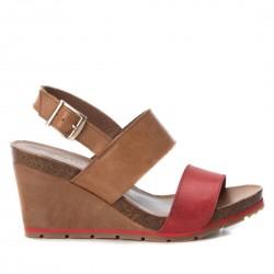 hnědo-červené kožené sandály na klínu CARMELA 66740