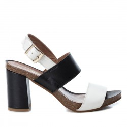 černo-bílé kožené sandály na širokém podpatku CARMELA 66741