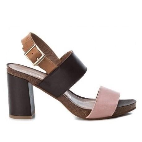 hnědo-růžové kožené sandály na širokém podpatku CARMELA 66741
