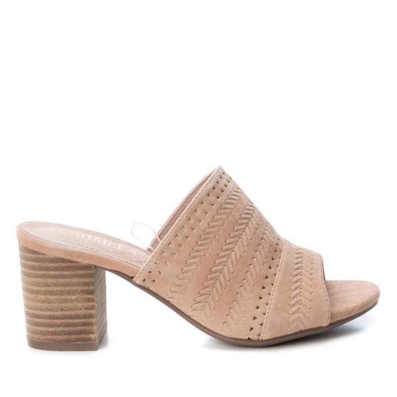 26ad0729d hnědo-růžové kožené sandály na širokém podpatku CARMELA 66741. Loading zoom