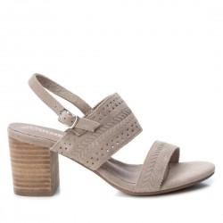 taupe kožené sandály na širokém podpatku CARMELA 66803