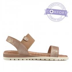 béžové  třpytivé sandálky s vyměkčenou stélkou TENDENZ TBS19-033
