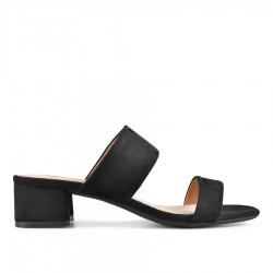 černé elegantní pantofle na širokém podpatku Tendenz CRS19-020