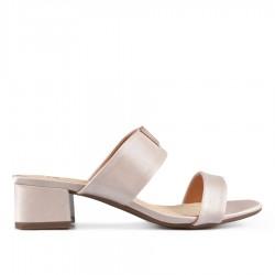 béžové (taupe) elegantní pantofle na širokém podpatku Tendenz CRS19-020