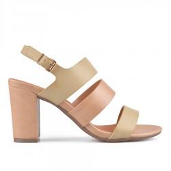 béžové (taupe) elegantní sandálky na širokém podpatku Tendenz CRS19-032