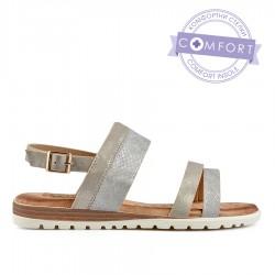 béžovo-zlaté  třpytivé sandálky s vyměkčenou stélkou TENDENZ TBS19-036