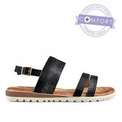 černé sandálky s vyměkčenou stélkou TENDENZ TBS19-036