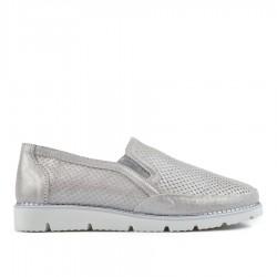 stříbrná kožená slip-on obuv TENDENZ NTS19-070