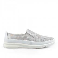 šedo-barevná kožená slip-on obuv TENDENZ NTS19-101