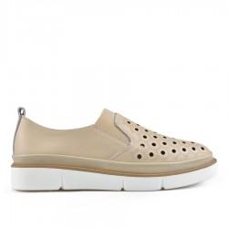 béžová kožená slip-on obuv TENDENZ NTS19-117