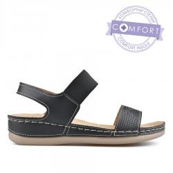 černé sandálky na klínku TENDENZ TBS19-017
