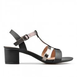 černé sandálky na širokém podpatku TENDENZ CRS19-029