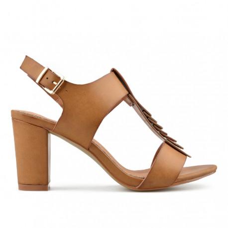 hnědé sandálky na širokém podpatku TENDENZ CRS19-042