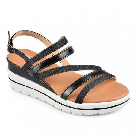 černé sandálky na klínku TENDENZ IRS19-005
