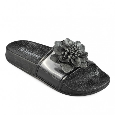 černé pantofle s květinou TENDENZ DGS19-005