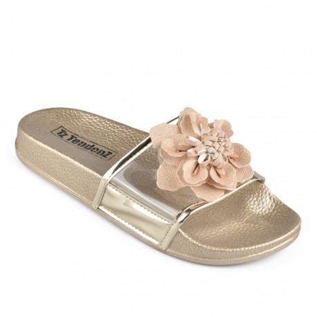 zlaté pantofle s květinou TENDENZ DGS19-005