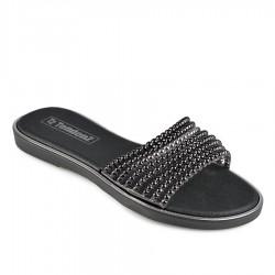 černé pantofle s korálkami TENDENZ DGS19-007