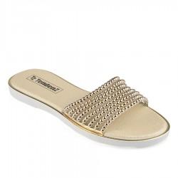 zlaté pantofle s korálkami TENDENZ DGS19-007