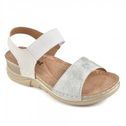 bílé sandály na klínu TENDENZ TBS19-021