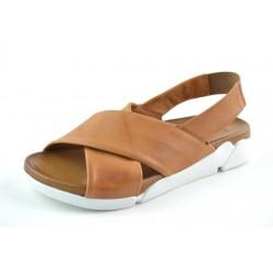 hnědé kožené sandály na gumičku BARI DEAH03