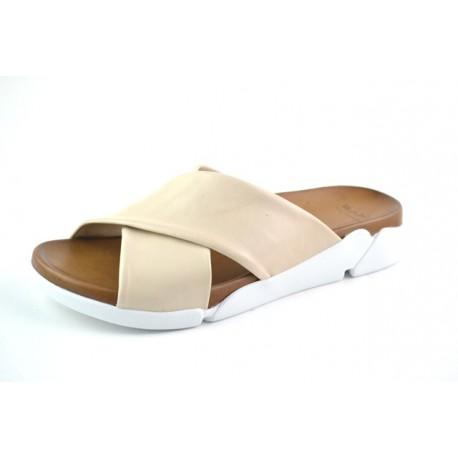 béžové kožené pantofle na platformě BARI DEAH05