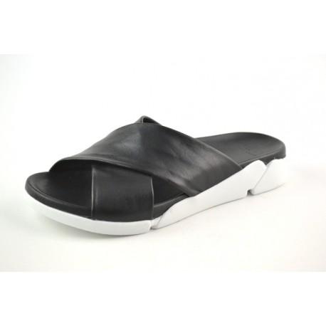 černé kožené pantofle na platformě BARI DEAH05