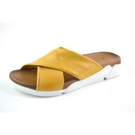 žluté kožené pantofle na platformě BARI DEAH05