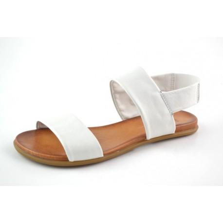 bílé kožené sandály na gumičku BARI KIRA63