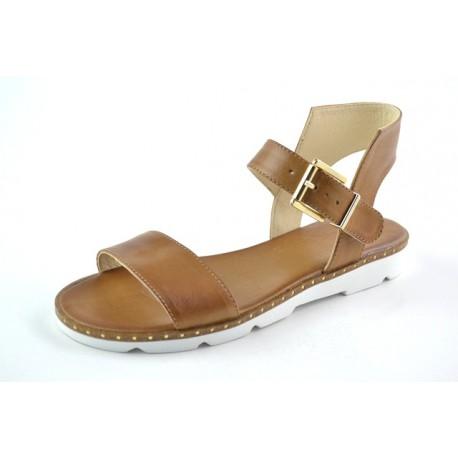 hnědé kožené sandály BARI ALLYDA22