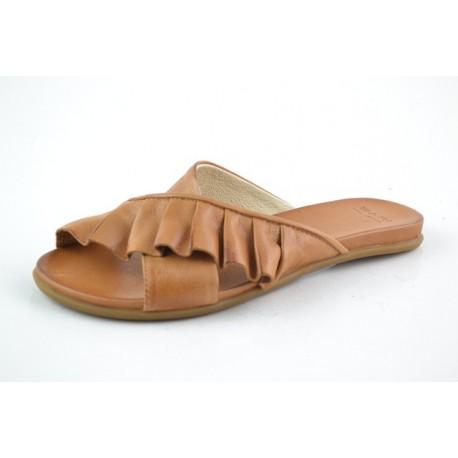 hnědé kožené pantofle BARI KIRA58